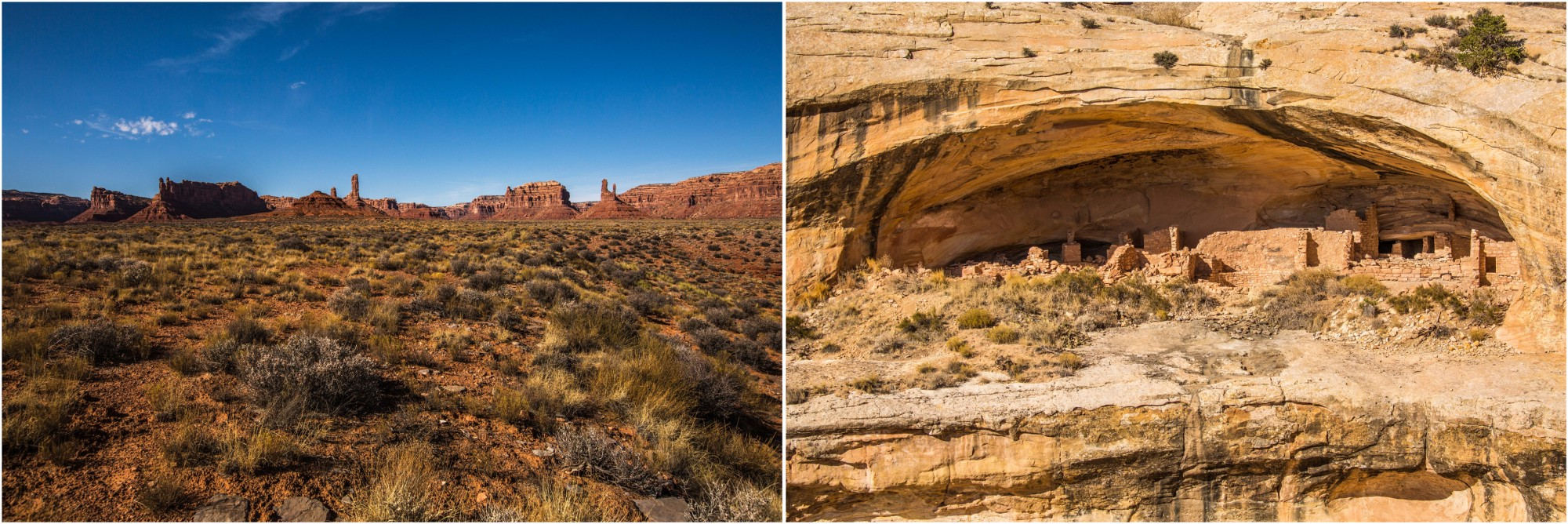 - Left: The sacred landscape of the Valley of Gods, in Bears Ears National Monument. Right: An Ancestral Puebloan settlement at Butler Wash Ruins.