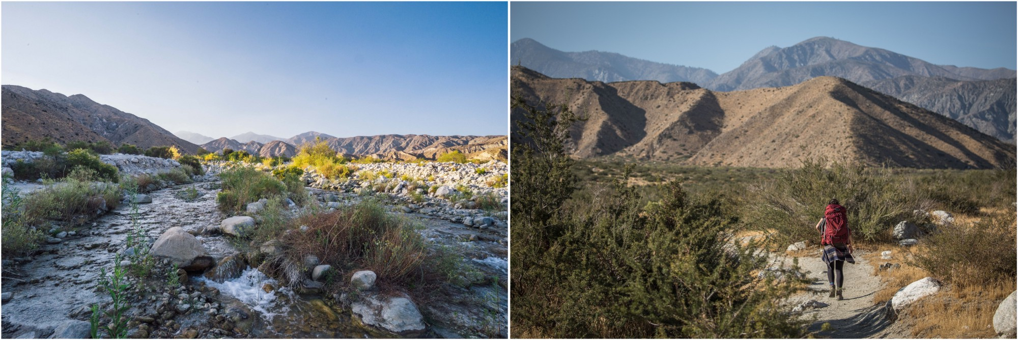 - Left: The Whitewater River is a beautiful sight in the dry desert environment of Sand to Snow National Monument. You can pitch your tent nearby on one of the sandy beaches. Right: On the PCT.
