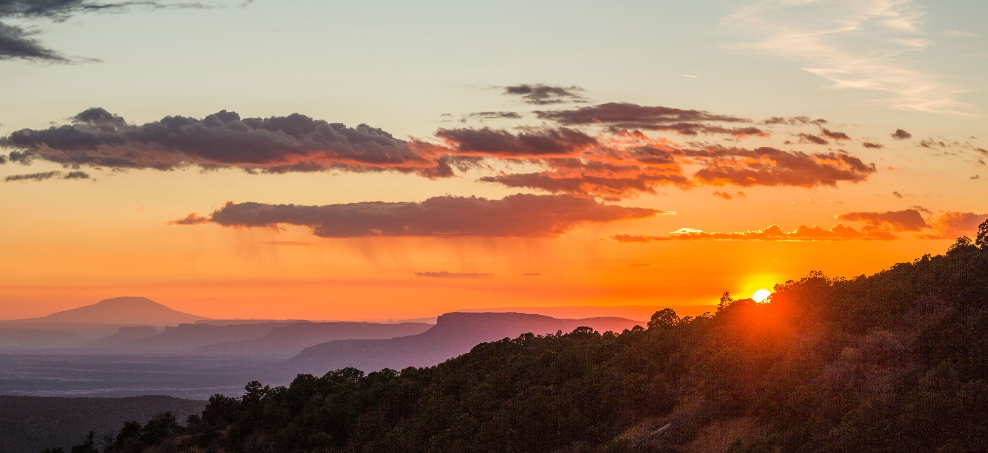- Sunset from behind the Bears Ears west butte in the Manti-La Sal National Forest.