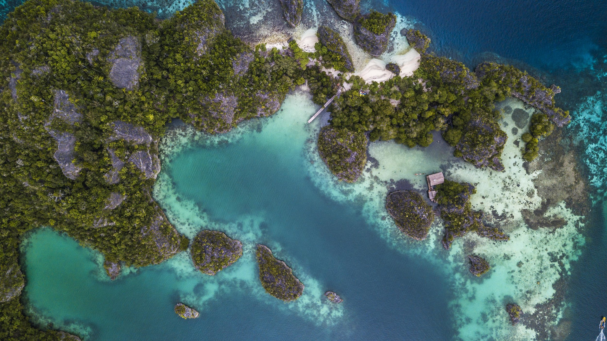 The stunning beauty of the Fam Islands as seen from above, Raja Ampat