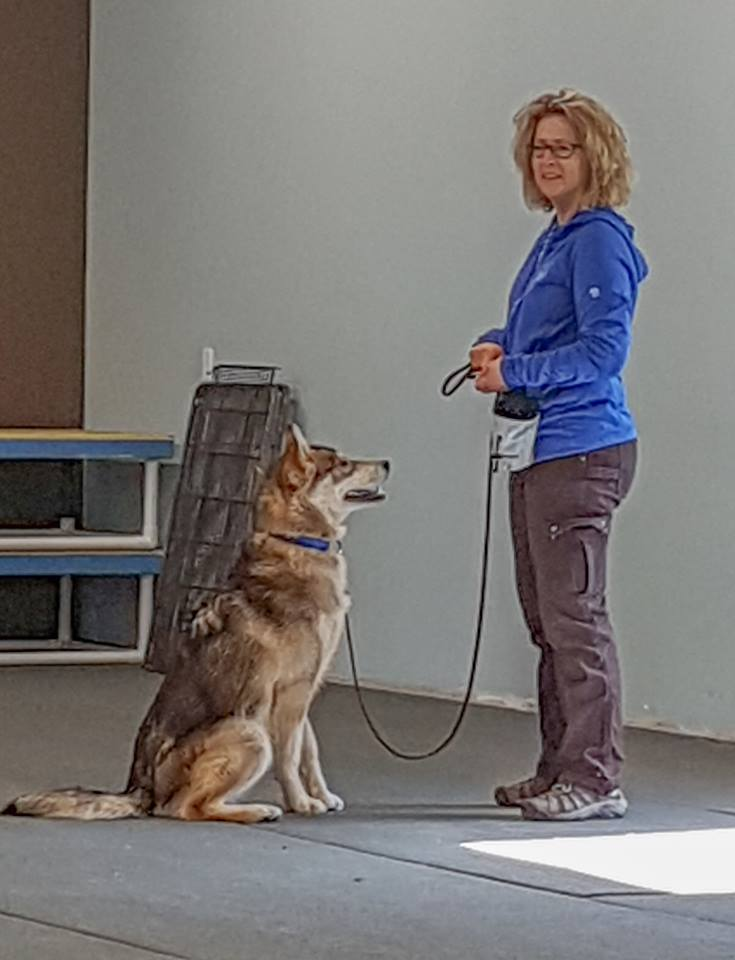 Newman and her dog, Castle, at obedience class when Castle was not even a year old