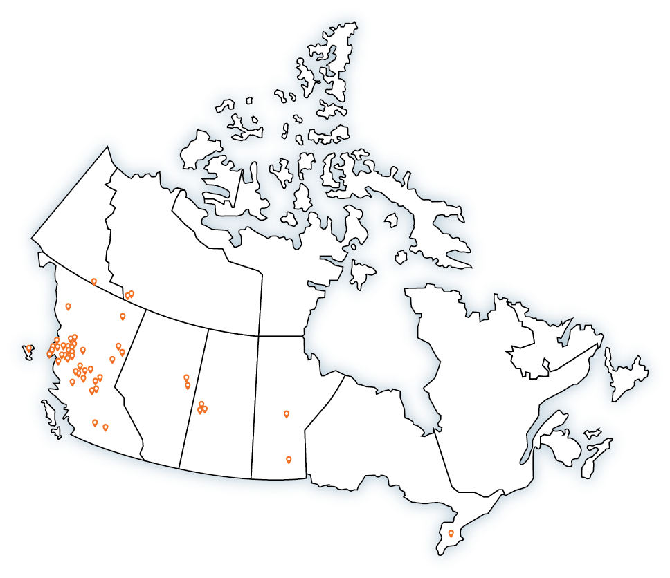 Map of the current First Nations involved in FNMPC.