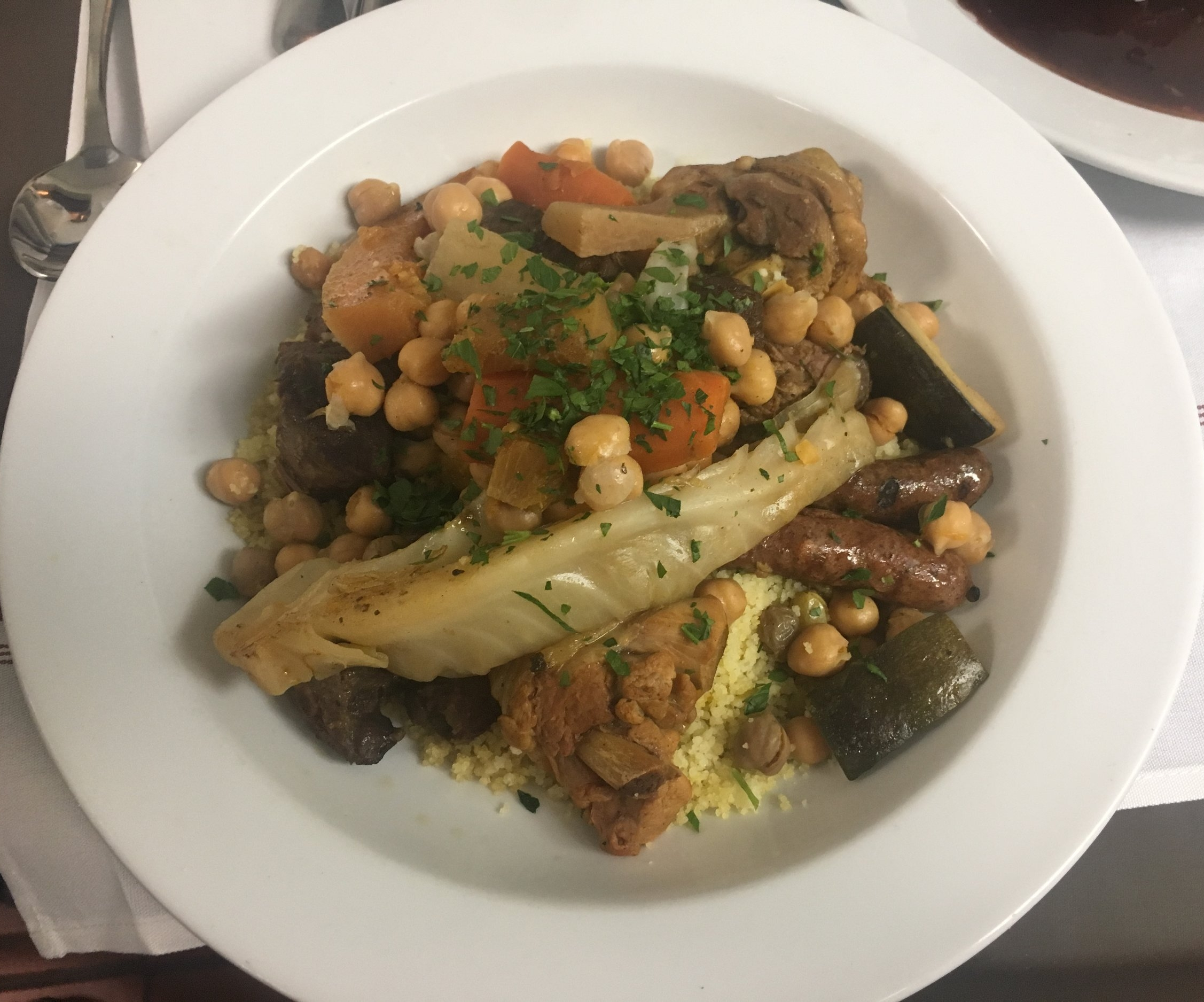 Vegetable Couscous, butternut squash, zucchini, carrot, turnips, cabbage, chick peas, tomato