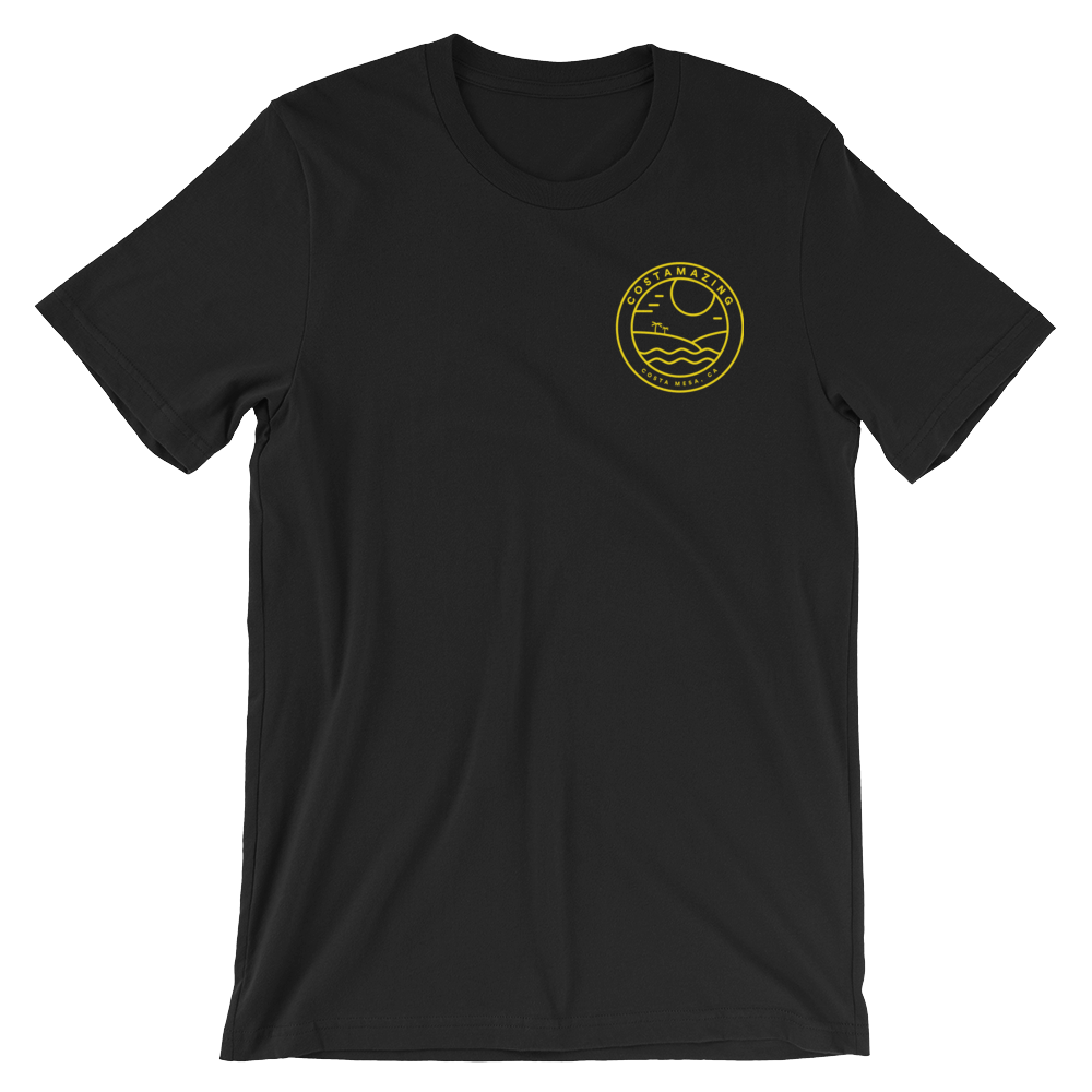 Faded black shirt with yellow pocket badge and full size badge on back.  Free shipping .