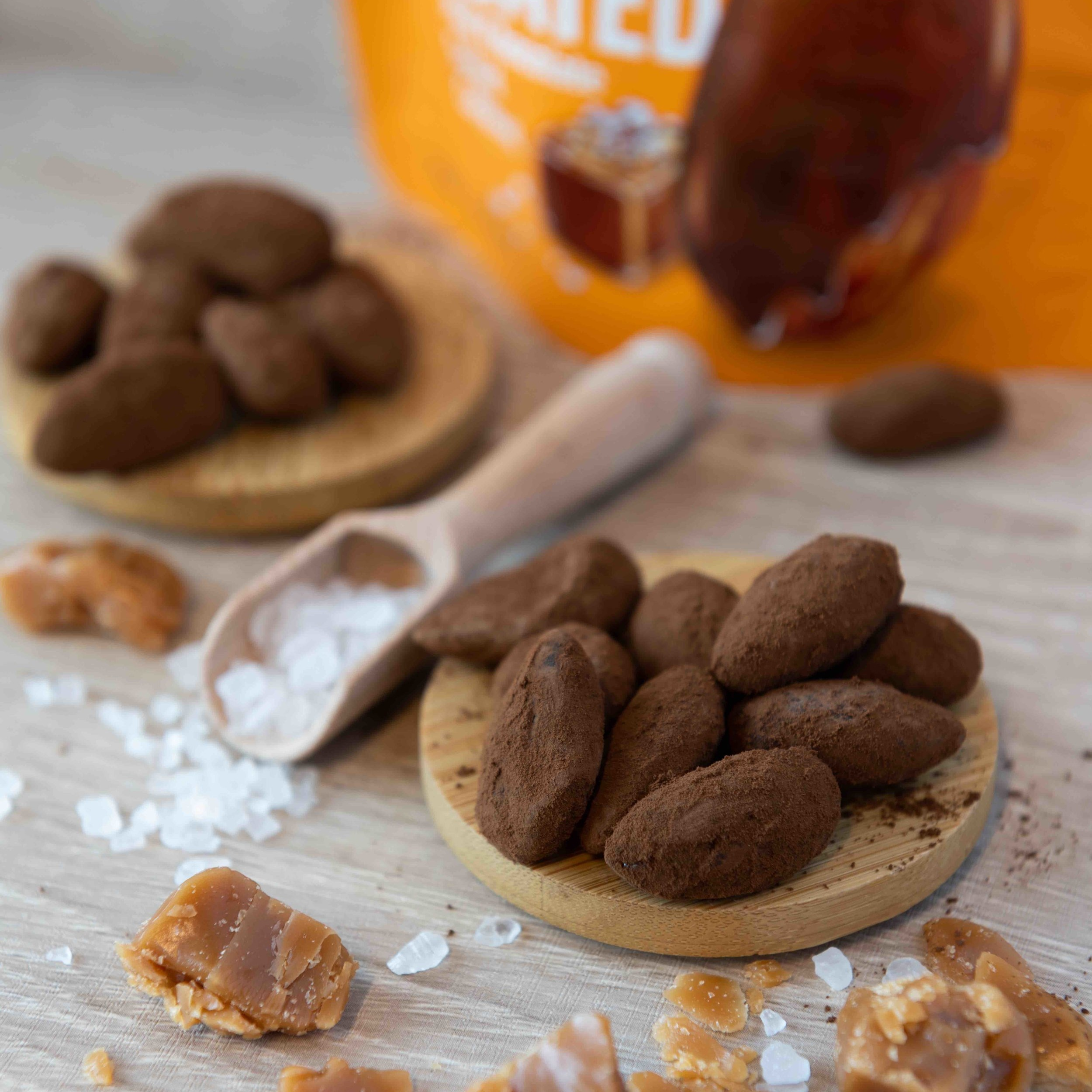 Mighty Fine Salted Caramel Almond Dips Skinny Coated Pack Shot & Ingredients .jpg