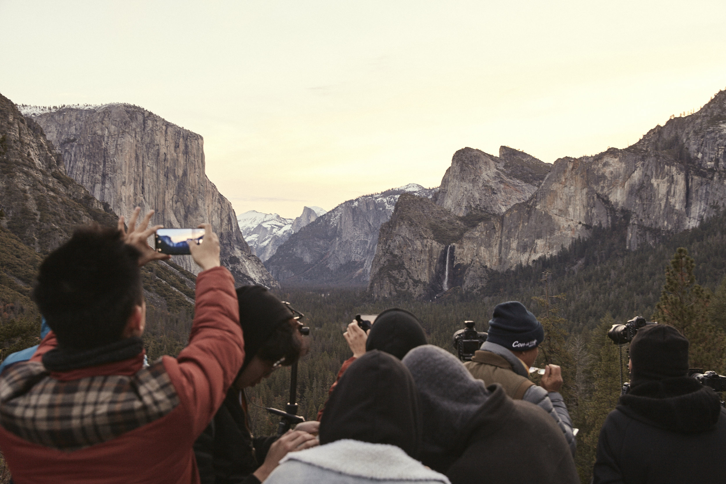 Photographers at Tunnel View in Yosemite National Park.