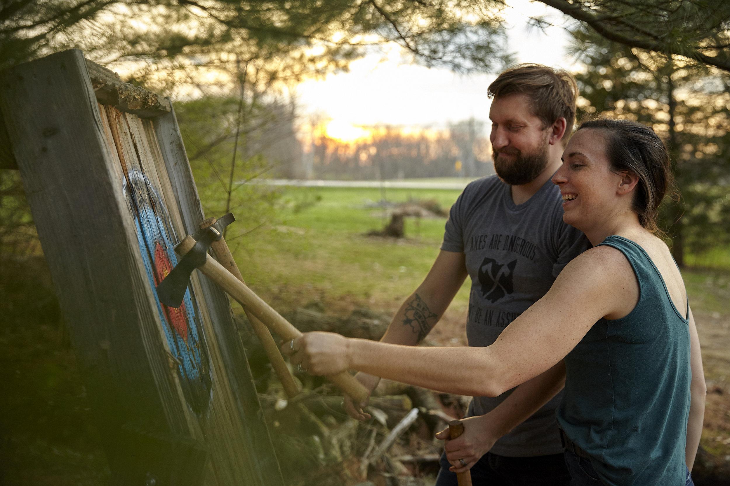 Benjamin and Cori Rowley of Yellowood Axe.