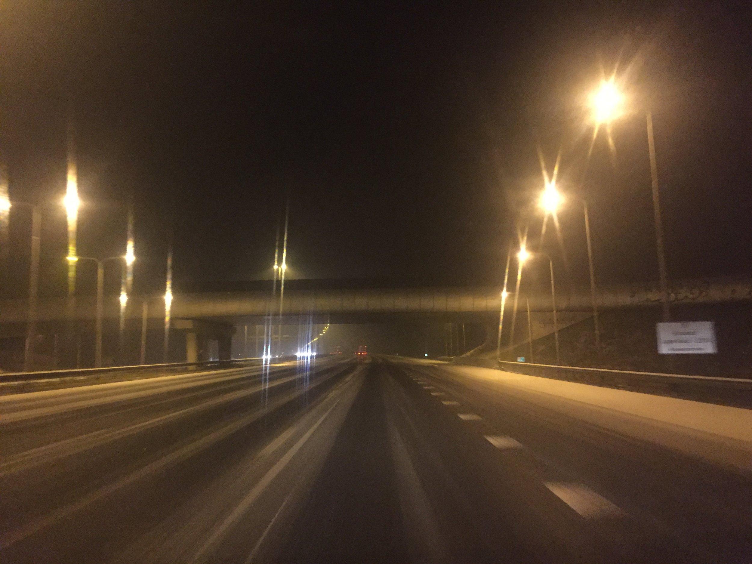 Sneeuw op de snelweg in de buurt van Utrecht!