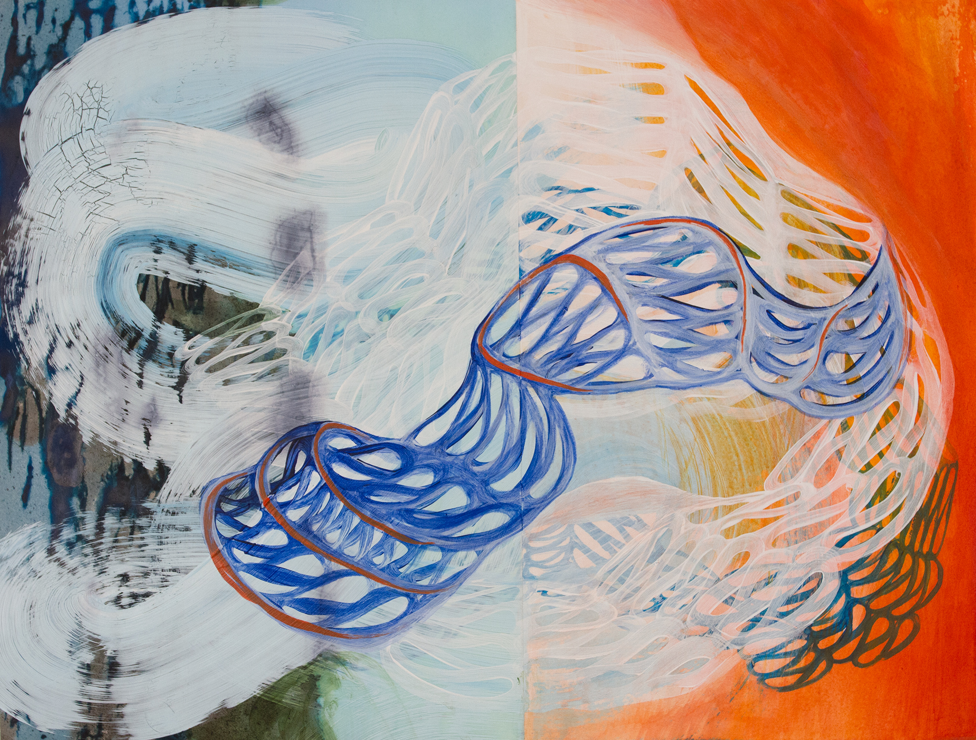 Miguel Rodriguez - Tangled Bank - Acrylic ink vellum on paper