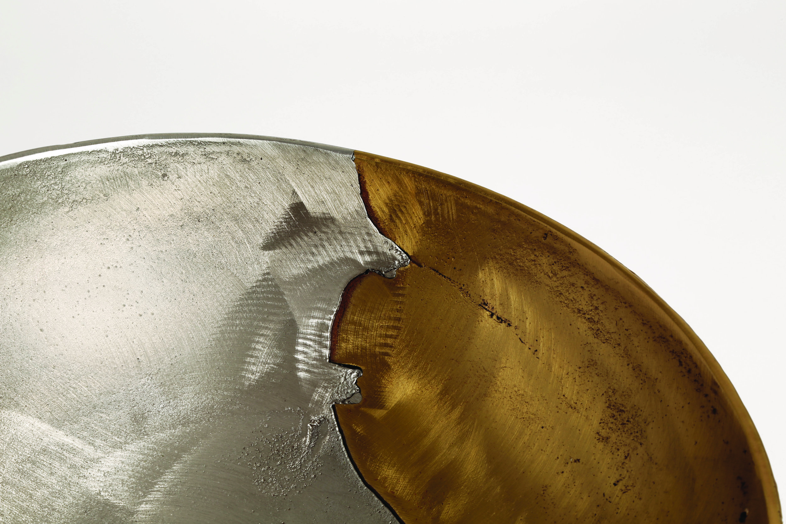 The  Dual Bowls  – made of mixed metals–are cast in the Alwafi Foundry in Kuwait, from industry recycled metals, and require a large nationally diverse community of craftsmen for their execution. Image courtesy of Form&Seek.