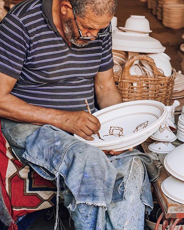 Hard at work hand painting a Moroccan tajine 😍