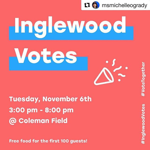A message from our CEO @msmichelleogrady! Come party with us at the polls! 🎉✅ ・・・ I interrupt my regular scheduled posts of food and merriment to remind everyone 1) to get ready to vote tomorrow‼️and then 2) to meet us in Inglewood to celebrate you helping change the world with your voice! 🗣 We've (@teamfridayla) partnered with @votetogetherusa, @upliftinglewood and @inglewoodunified to bring you a #partyatthepolls! Can't wait to see you tomorrow!  Need any assistance? DM for a plethora of resources. 🤗