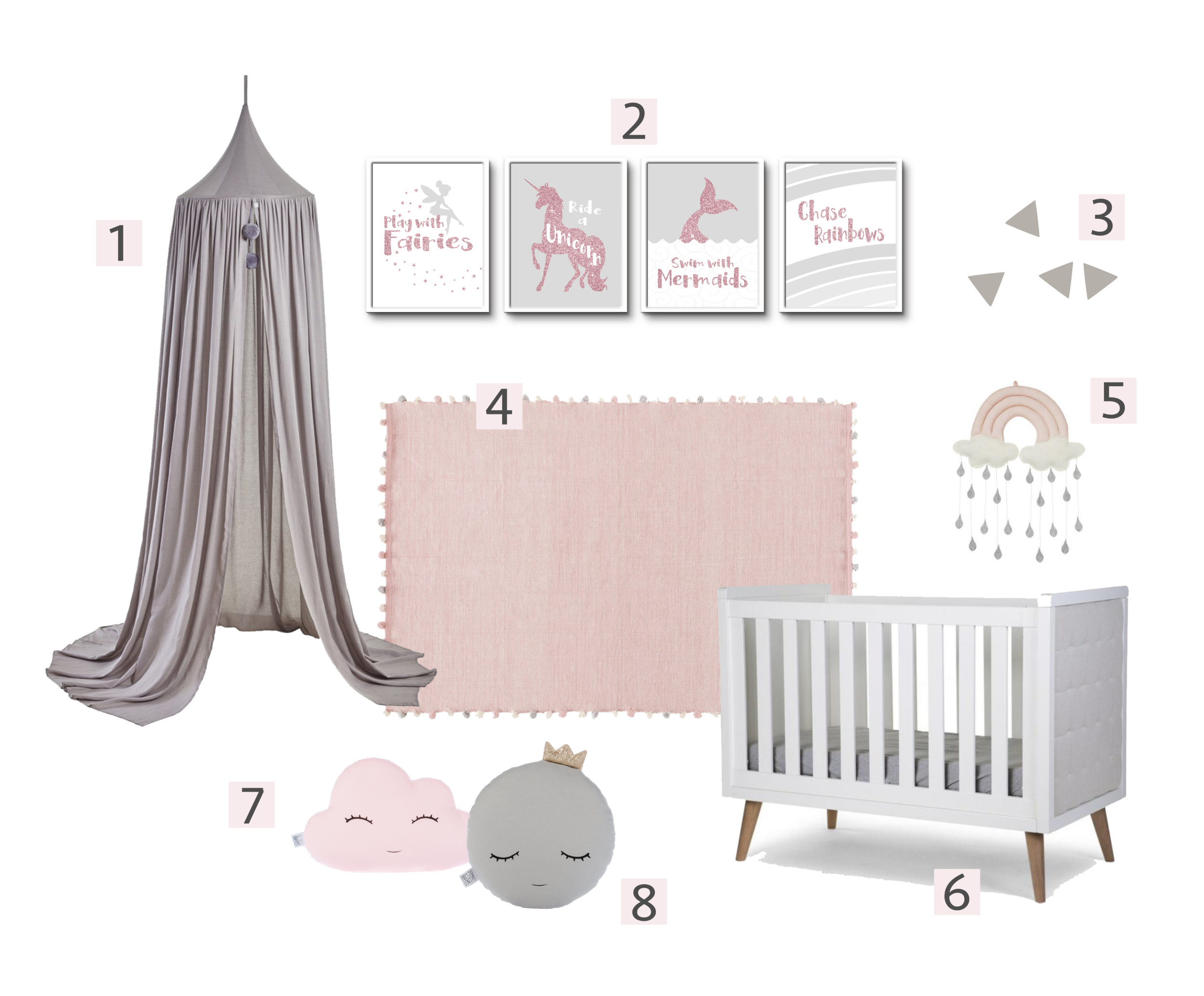 Pink And Grey Nursery Decor Inspired Flamingo