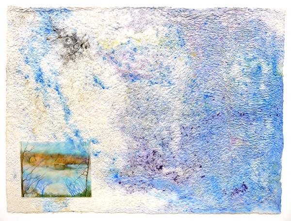 Wendy Shalen,  Lake View Near and Far , 2015, pigmented cotton pulp, color pencil on shrinkable plastic, 30 x 40 in.