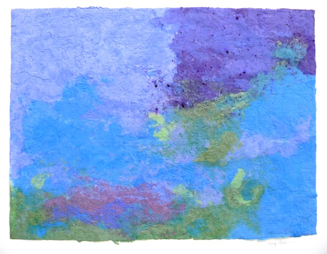 Wendy Shalen,  Bluescape , 2012, pigmented handmade paper pulp, 29 x 39 in.