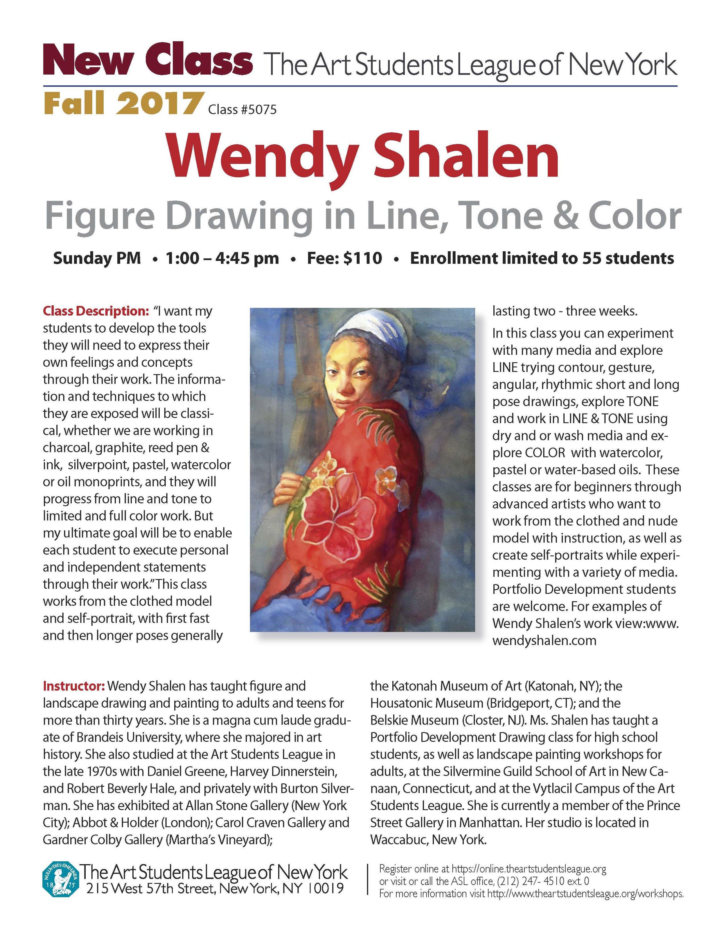 Wendy Shalen New Class - Fall 2017