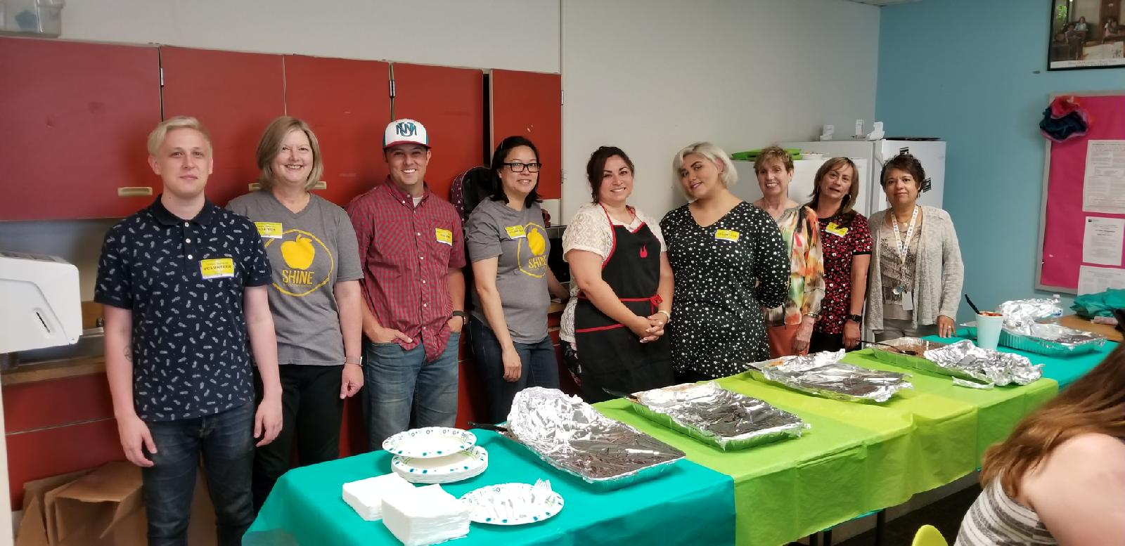 Shine volunteers from Mosaic Church host a staff appreciation luncheon for Mary Ann Binford Elementary