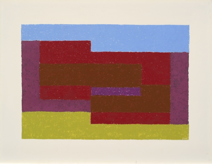 Josef Albers  To Mitla , ca. 1940 Oil on Masonite, 53.3 × 71.1 cm The Josef and Anni Albers Foundation © 2017 The Josef and Anni Albers Foundation/Artists Rights Society (ARS), New York