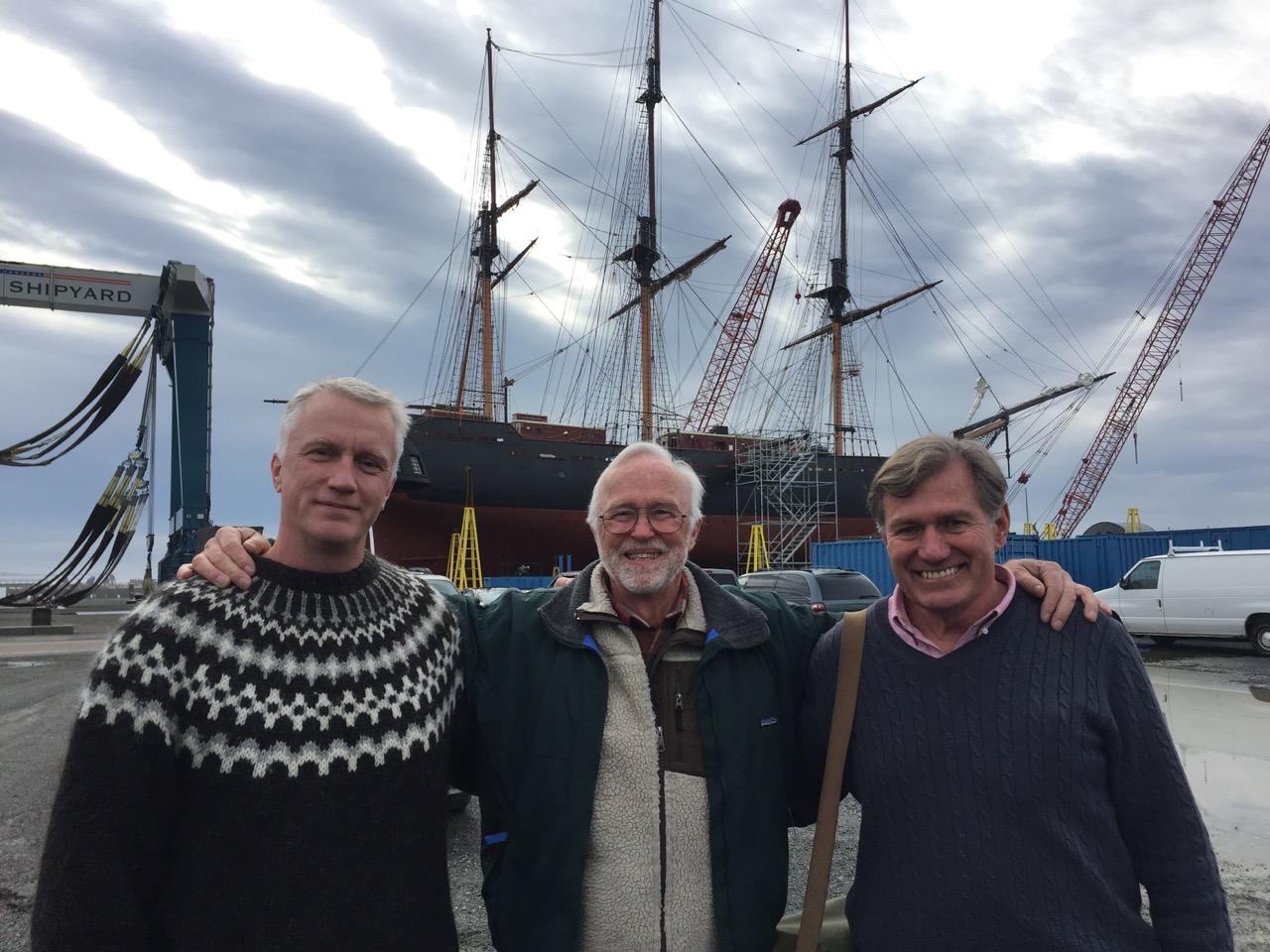 Bruce, Bob and Dave at Goodison Shipyard, Dec 2016