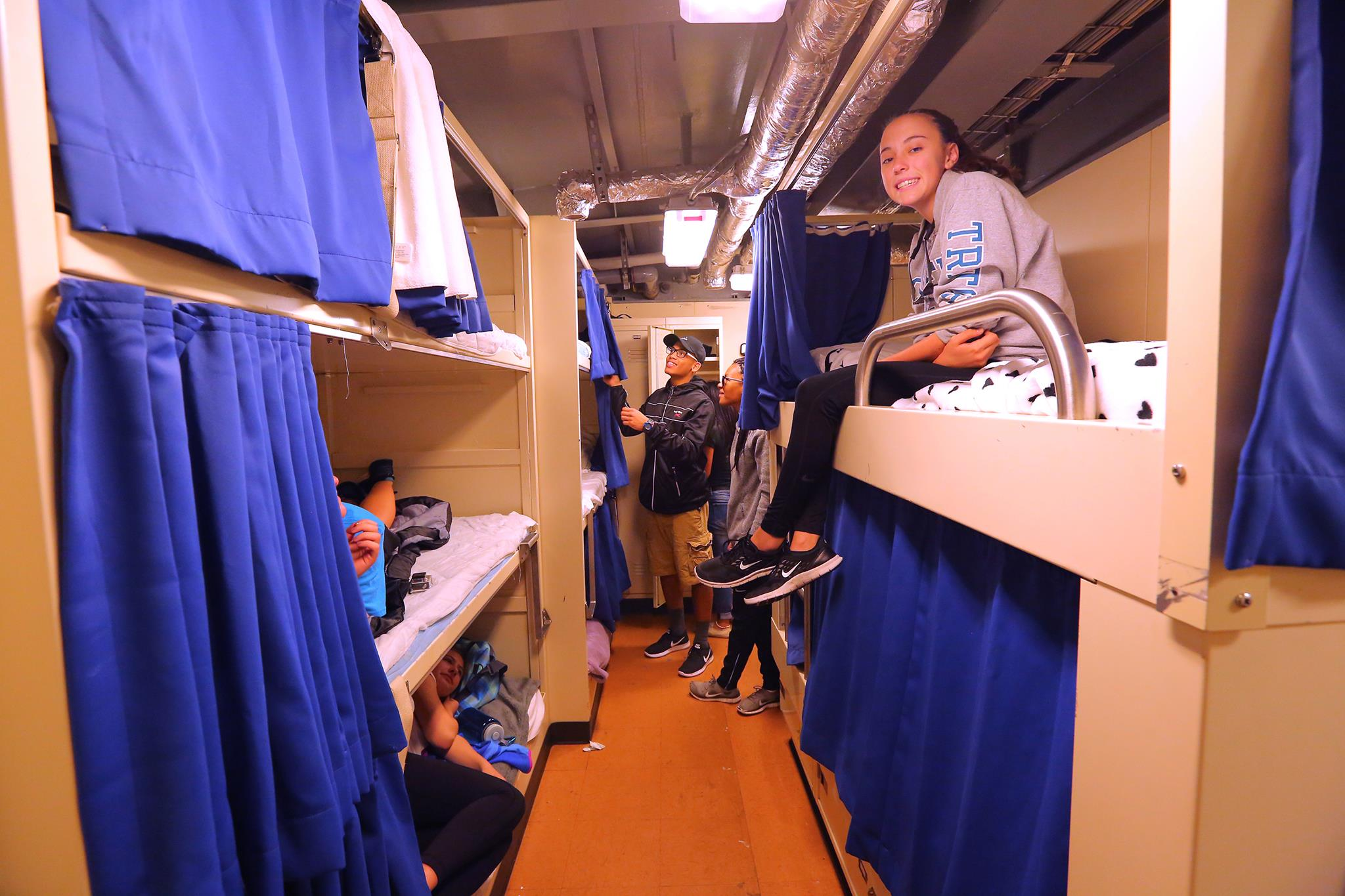 First thing's first- move in! Here you see our 16-person berthing space. Every person on board has a berth as well as a locker. There are also private two-person cabin's available which feature a private bathroom, desk, and more personal storage space.
