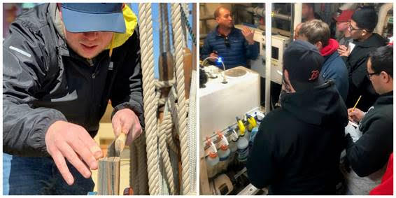 (left) Nathan Plummer working on basic joinery skills; (right) Captain Jonathan Kabak talking to students about marine systems in Oliver Hazard Perry 's engine room (Photo courtesy of OHPRI; Photo credit: Lisa Goodwin).