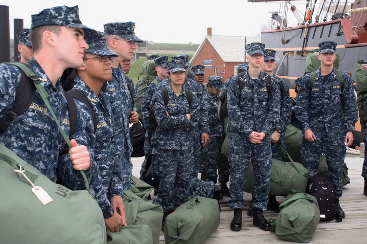Midshipman Candidates from the Naval Academy Prep School in Newport prepare to board the ship in 2018. (photos courtesy OHPRI)