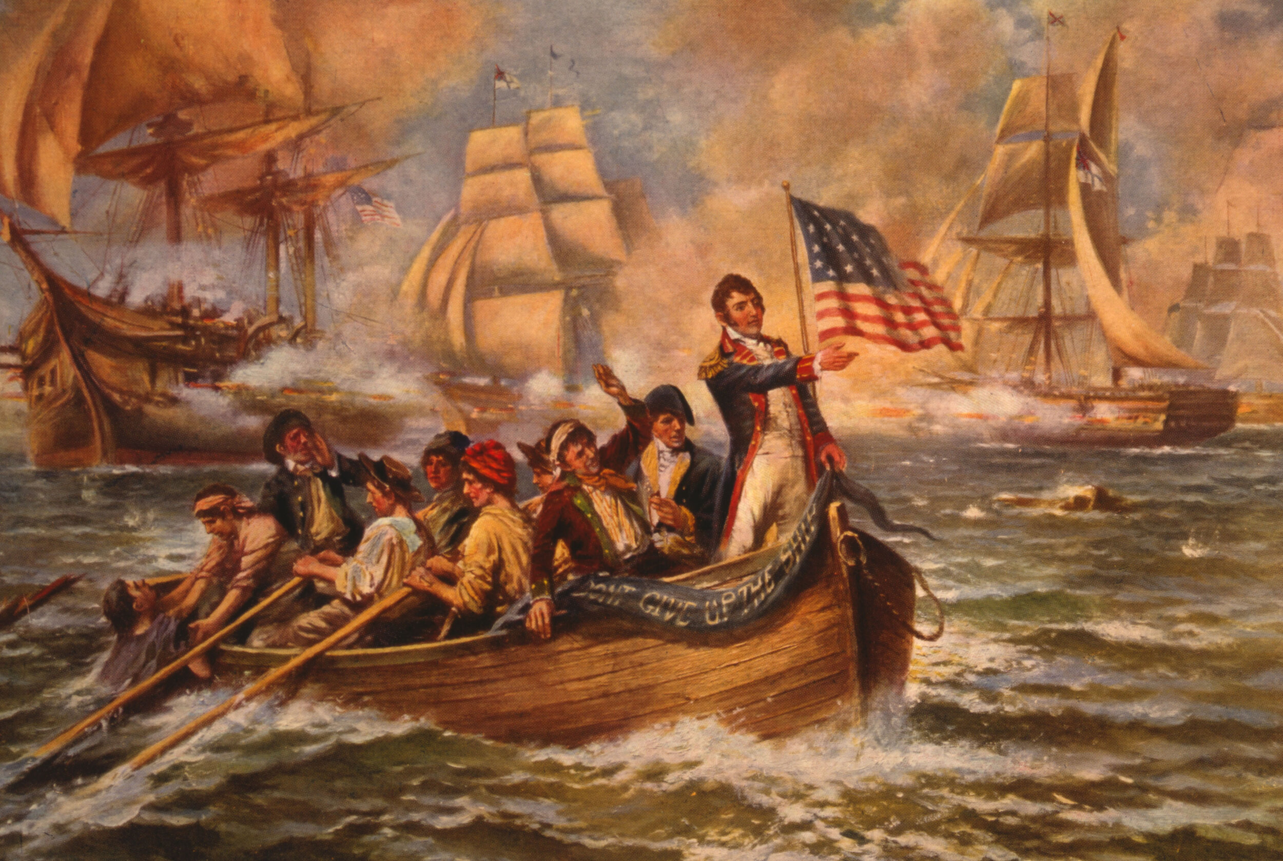 Oliver Hazard Perry is rowed across Lake Erie to take command of the USS  Niagara,  escaping his damaged ship, the USS  Lawrence.