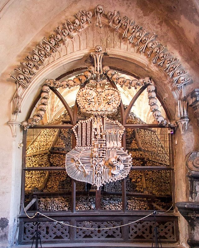 The Sedlec Ossuary  The Schwarzenberg coat of arms at the bone church near Prague. Interesting artistic history; art exists in unusual forms.  #sedlecossuary #czechrepublic #prague #roadtrip #beyond #theworldyousee #photography #bones #worldheritage