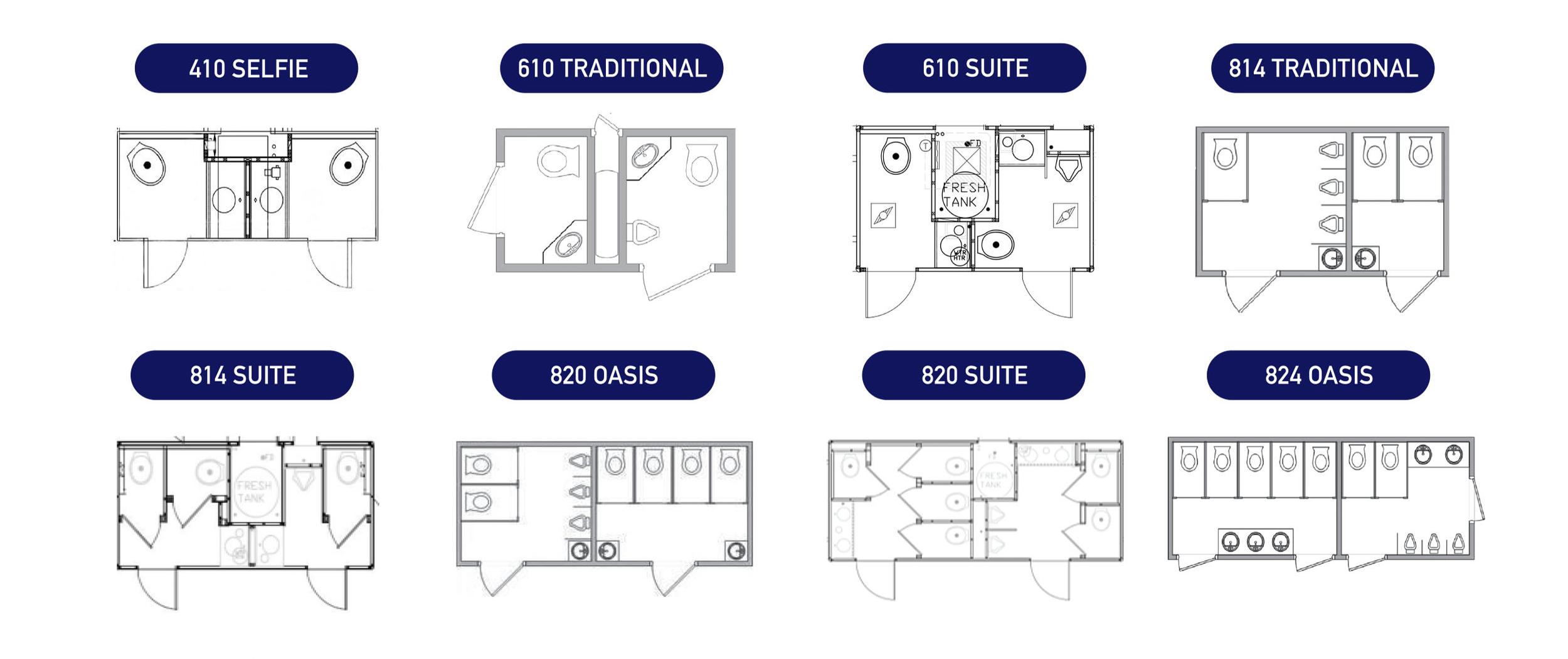 Our Portable Restrooms Trailer Floor Plans