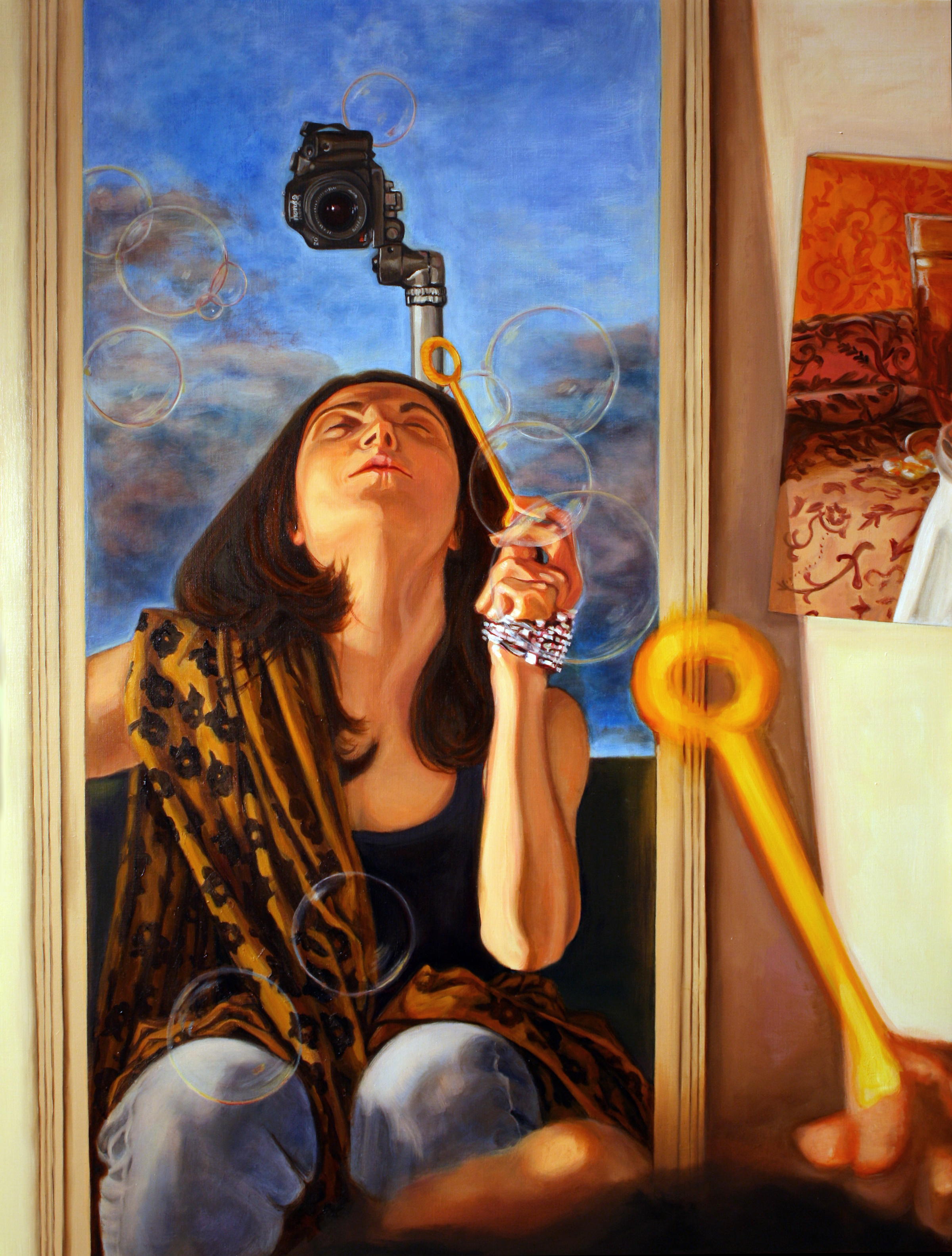 Self-Portrait with Bubbles © 2011 Oil on linen 34 x 26""