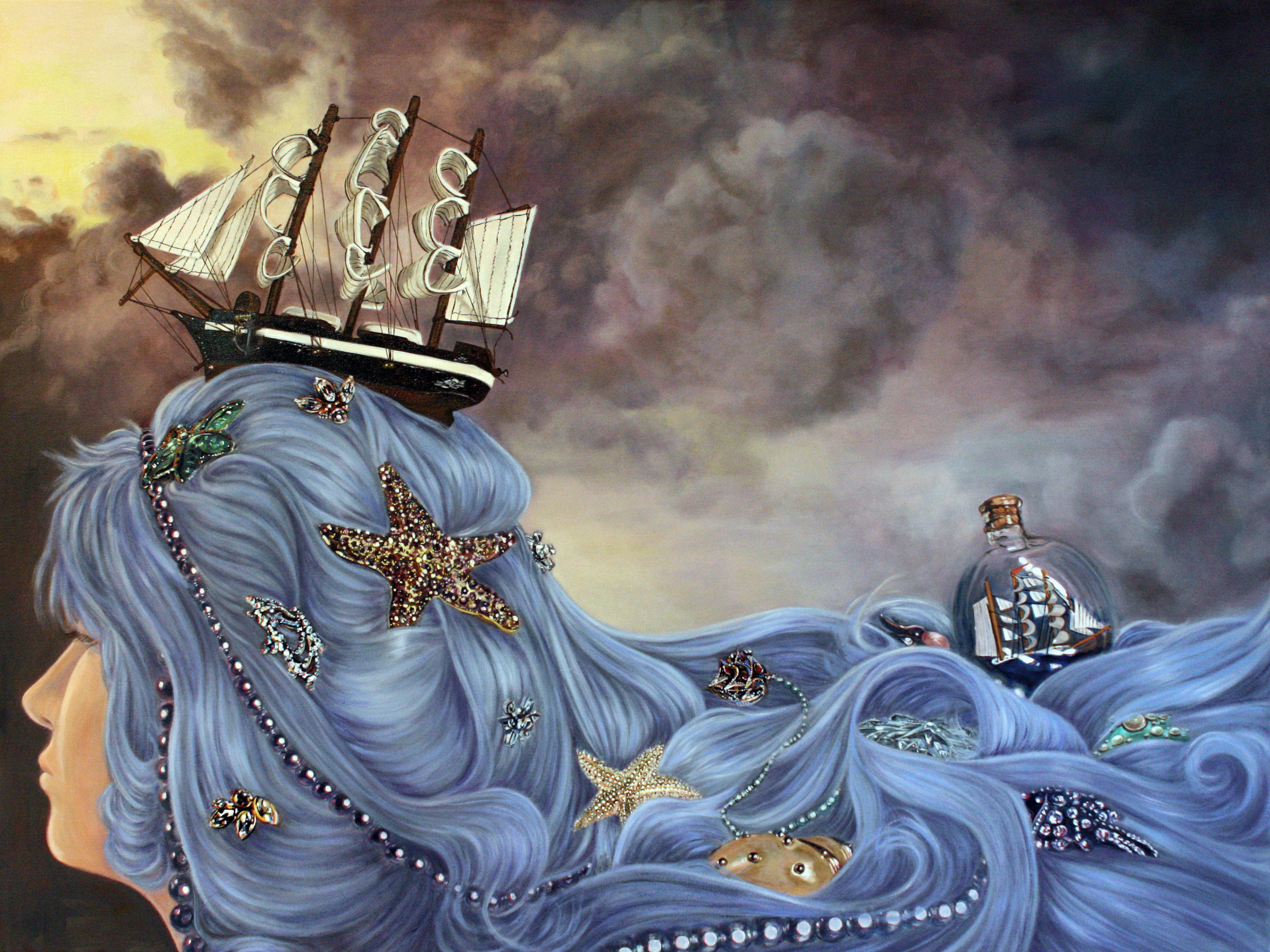 Ships in the Tresses © 2013 Oil on canvas 36 x 48""