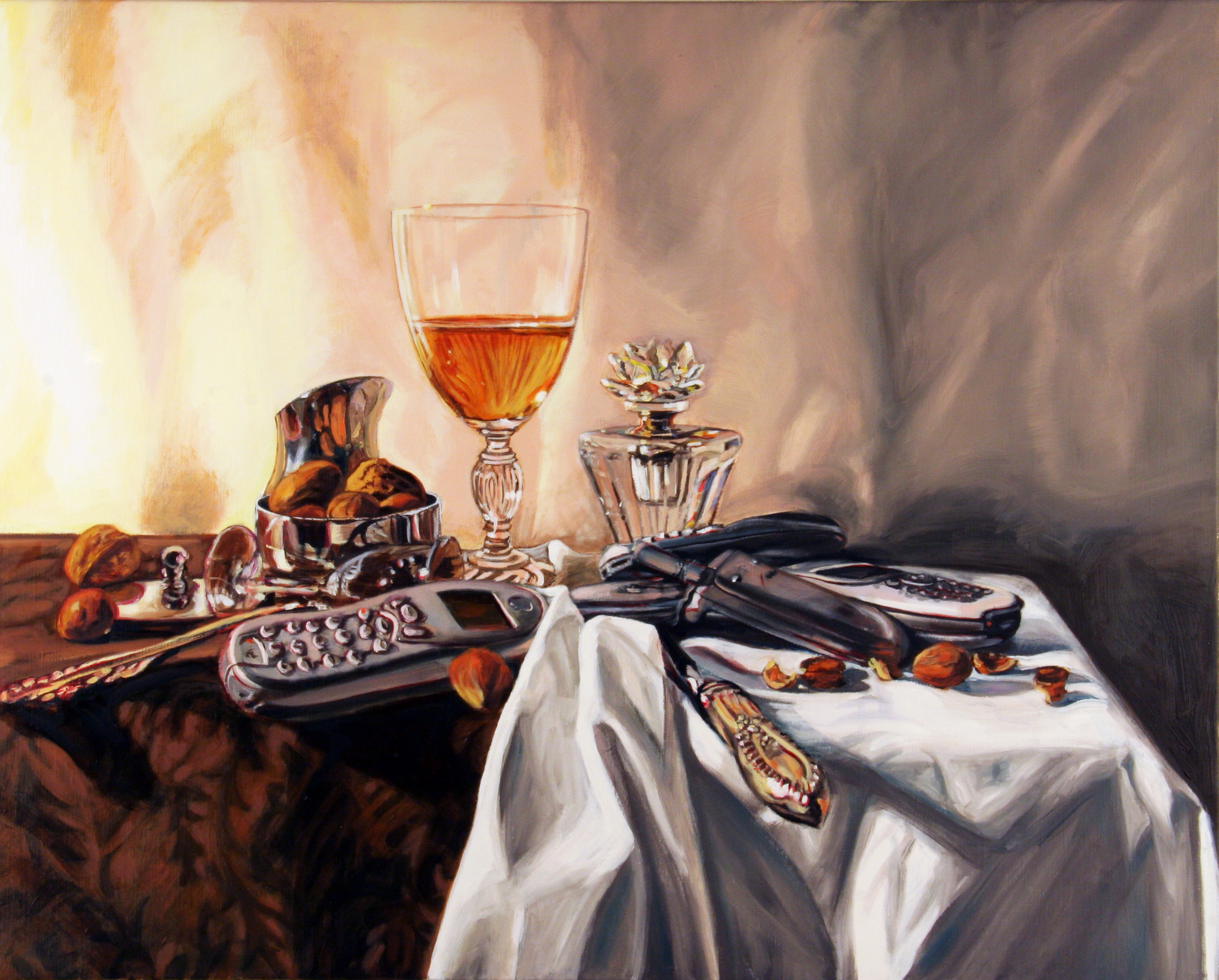 Still Life with Nuts and Perfume Bottle © 2009 Oil on linen 16 x 20""