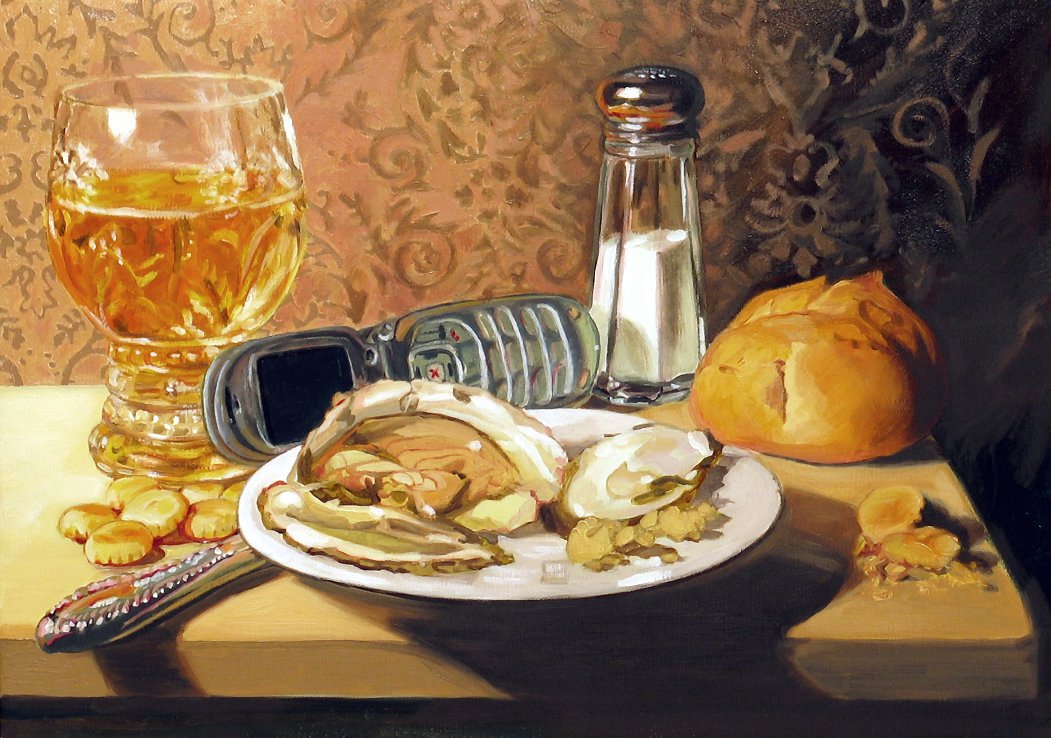 Still Life with Oyster © 2008 Oil on linen 8 x 11""
