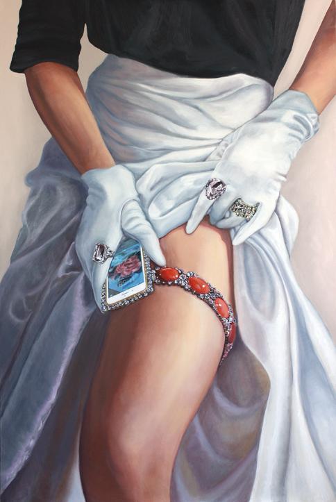 """Portrait with White Silk Satin,""©2016 Lisa Ficarelli-Halpern"