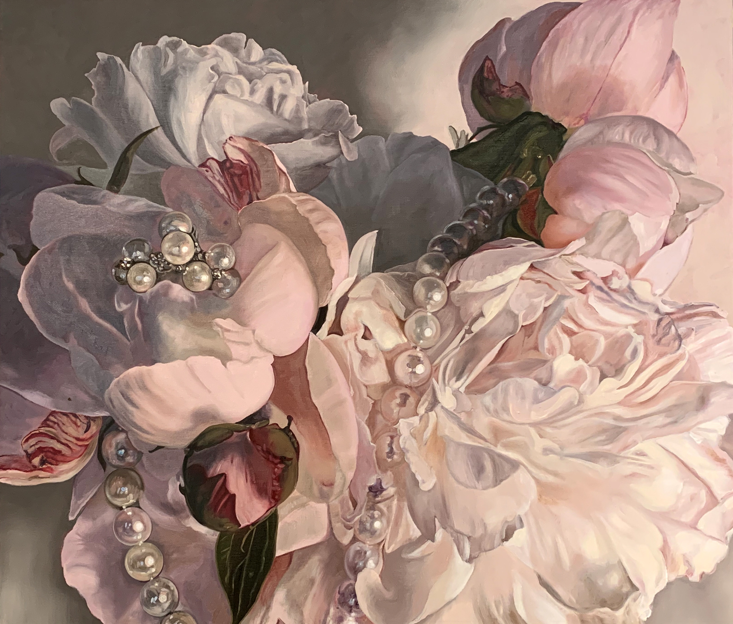 "Lisa Ficarelli-Halpern, ""Grand Peony Corsage,"" Oil on canvas, 36"" x 42"", ©2019"