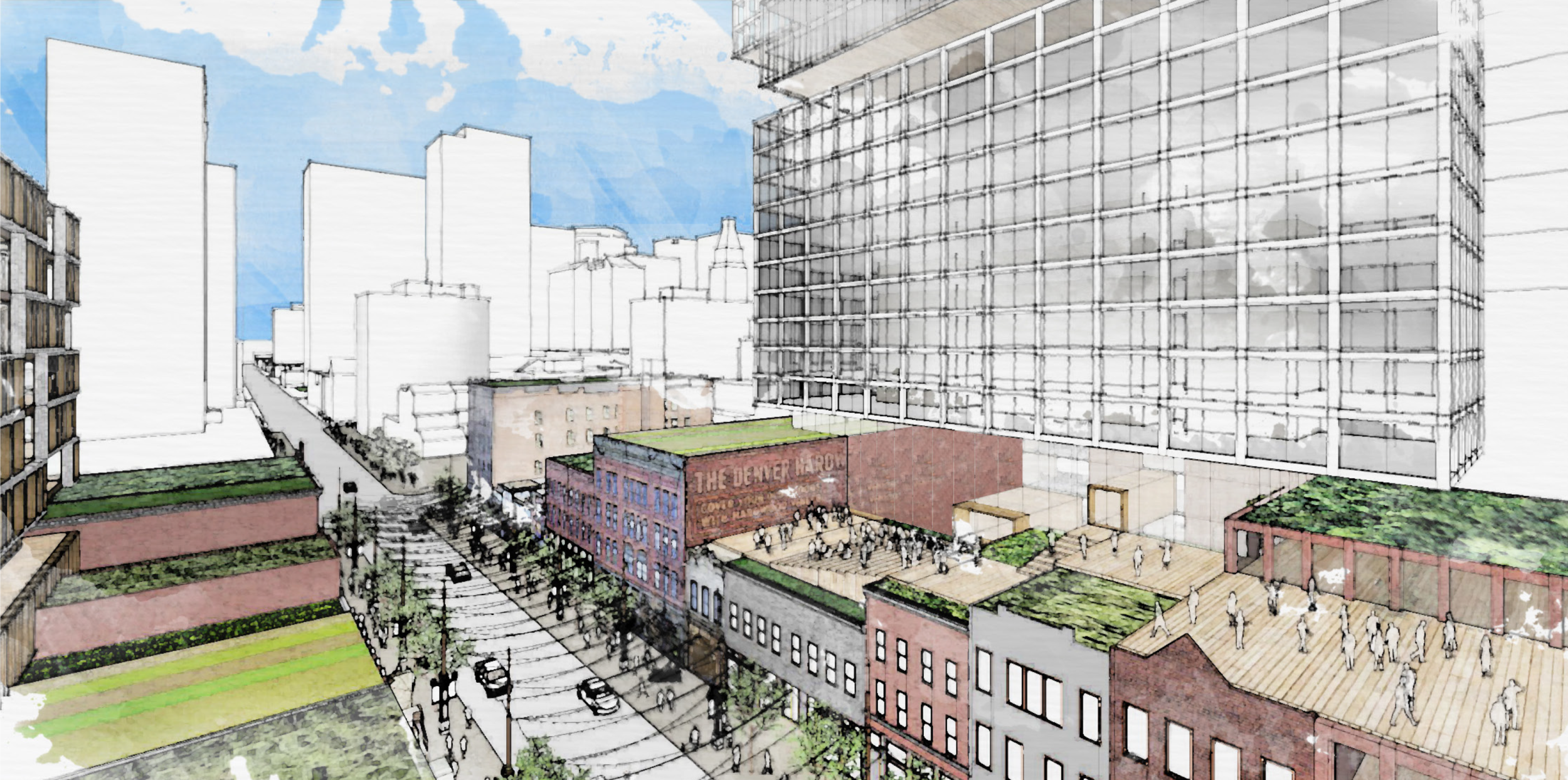 Overheard rendering of the future of Larimer Square shows extensive green spaces, urban gardens and farms.