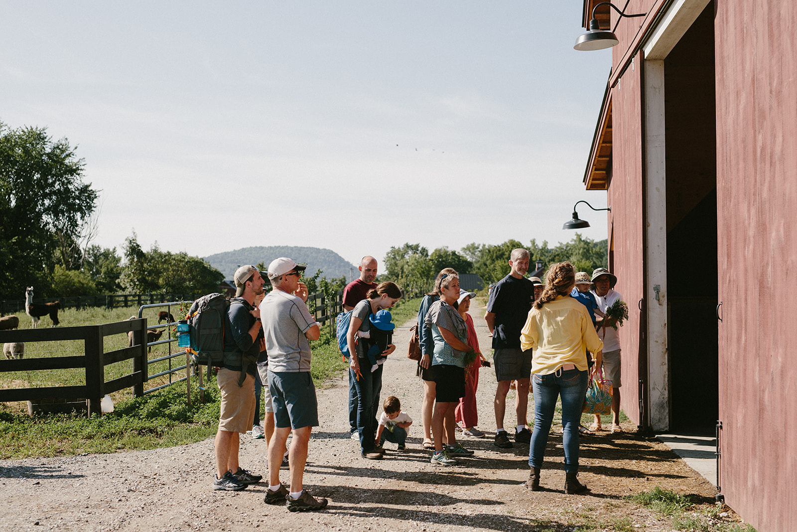 Visitors learn about the Pack Barn during a tour of Philo Ridge Farm. Photo by Kelly Dudash.