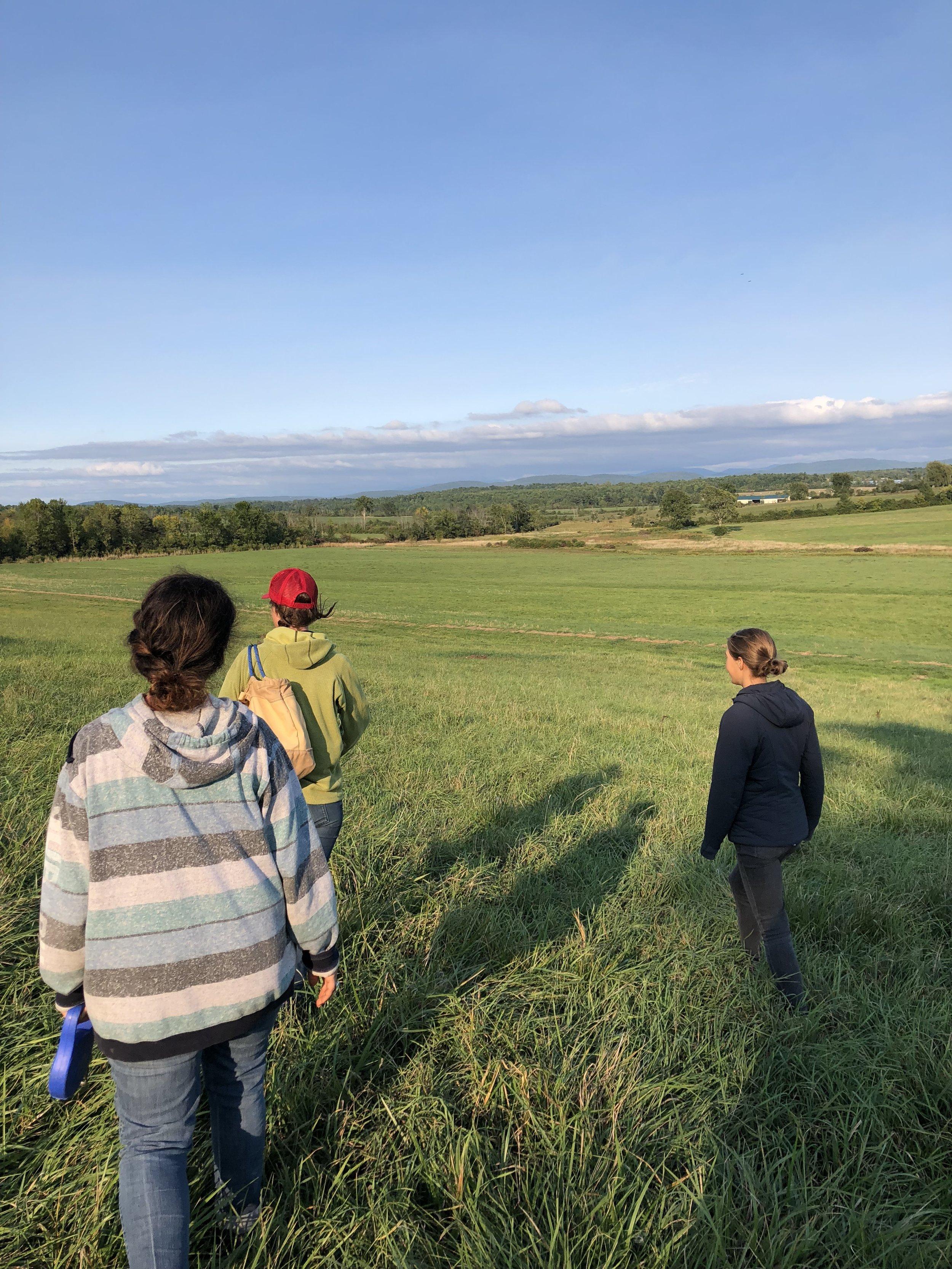 Field walk with Philo Ridge farmer Jane in Vermont.