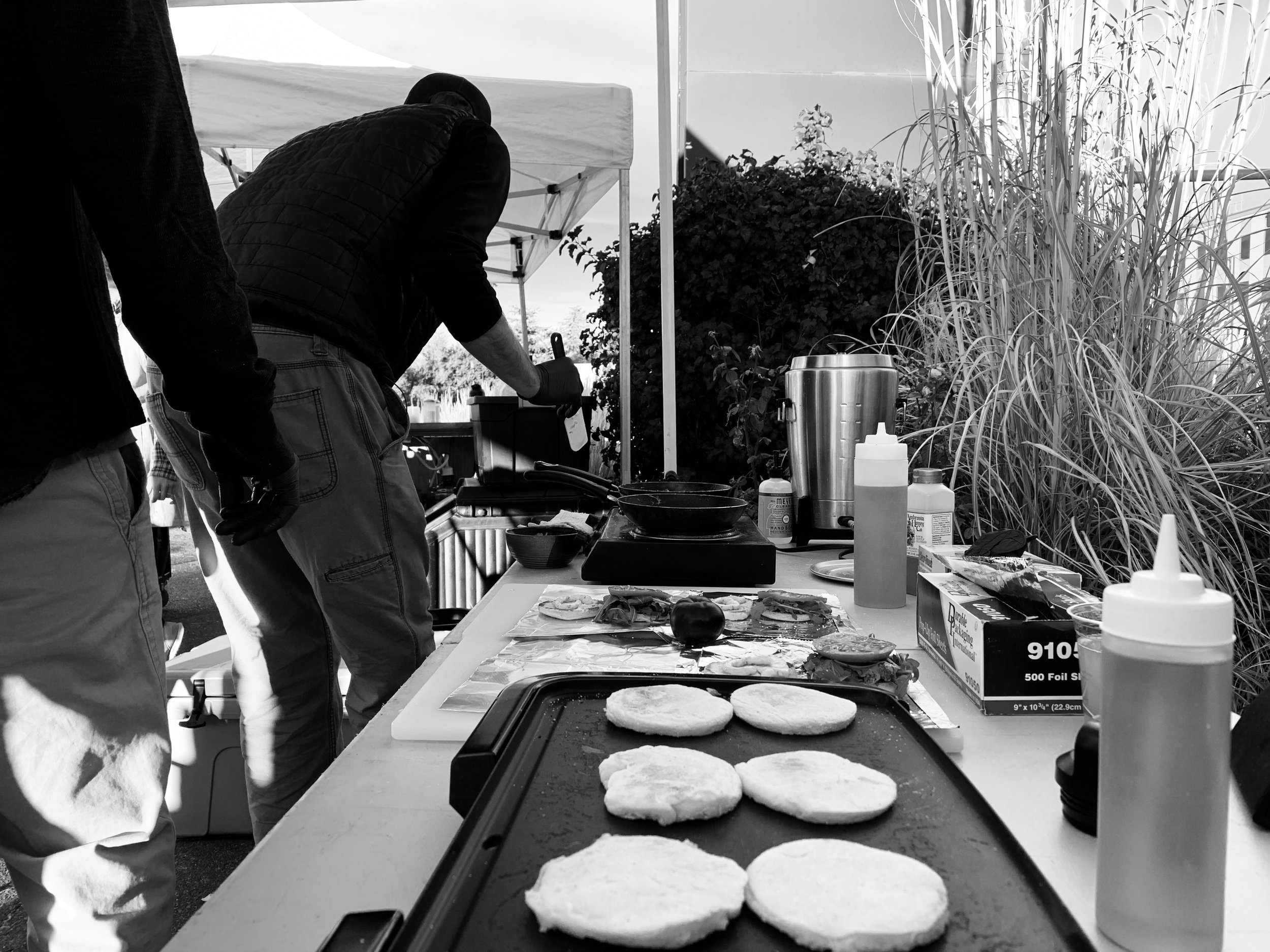 The griddle set up at the farmers market.