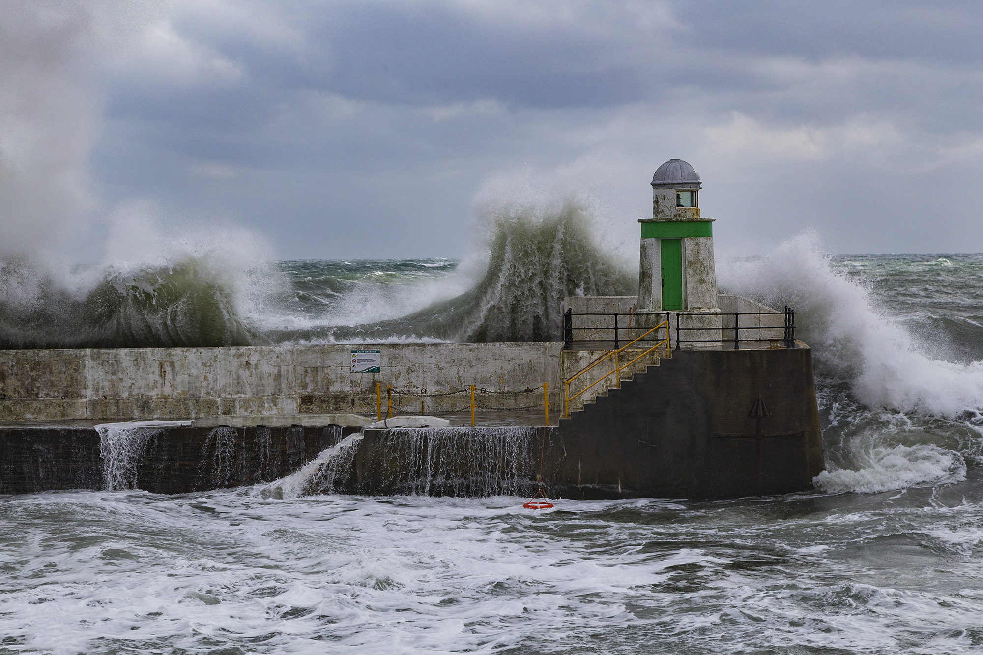 Laxey being battered by the sea