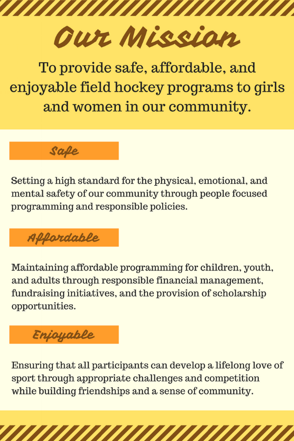 Mission Statement - To provide safe, affordable, and enjoyable field hockey programs to girls and women in the Burnaby and New Westminster communities.- Emphasizing teamwork, friendship, and community building- Commitment to basic field hockey skills, fundamental movement skills, and a lifelong love of sport- Accessibility to opportunities and challenges at all levels of play- The promotion of girls and women in all aspects of field hockey: playing,coaching, officiating, and administration.