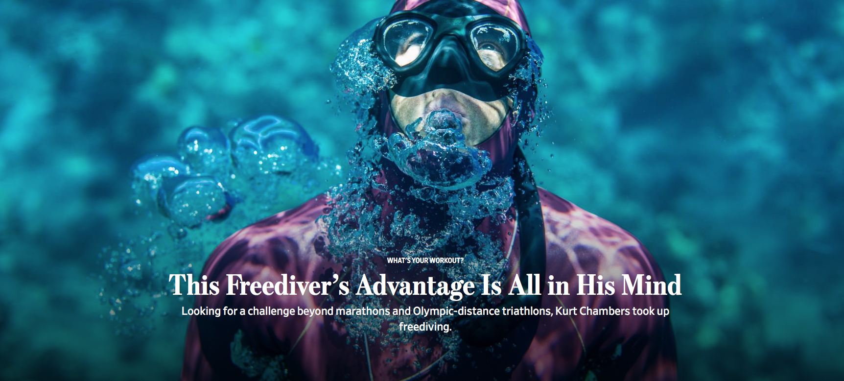 Professional freediver Kurt Chambers practices repetitive surfacing exercises off of the Pali Coast on Maui. He can dive to deeps of 300 feet on a single breath. AMANDA EMMES FOR THE WALL STREET JOURNAL