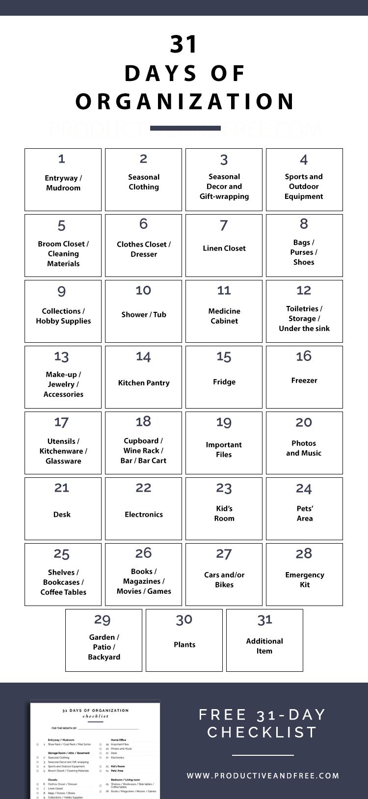31 Days of Organization + Free Checklist | ProductiveandFree.com