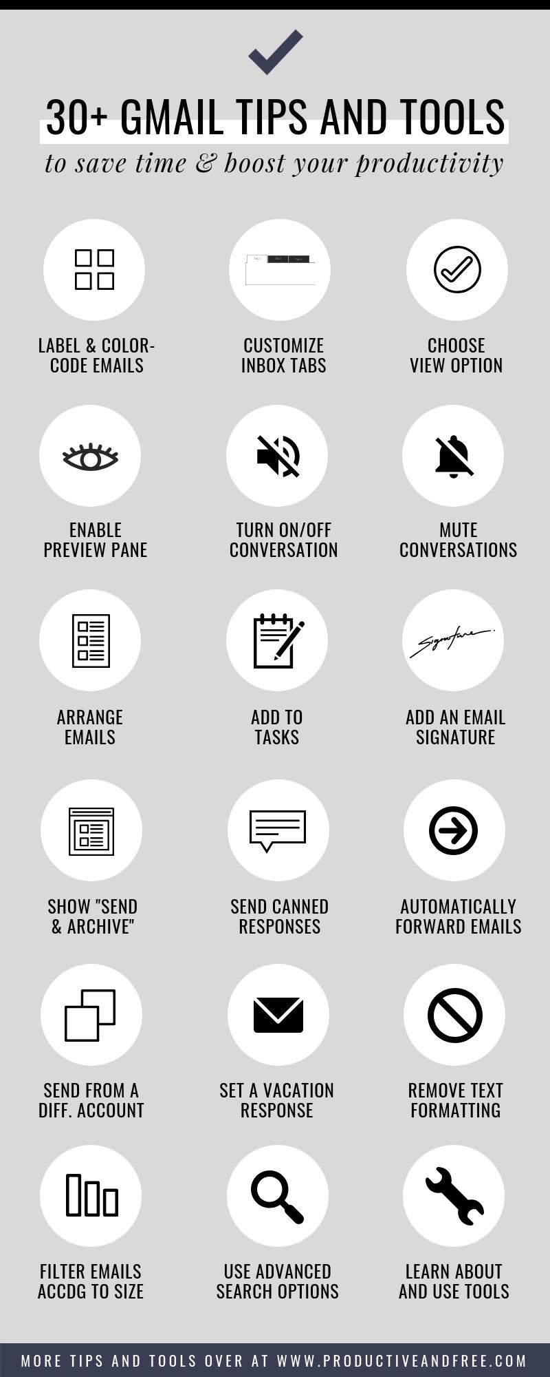 30+ Gmail Tips and Tools | ProductiveandFree.com