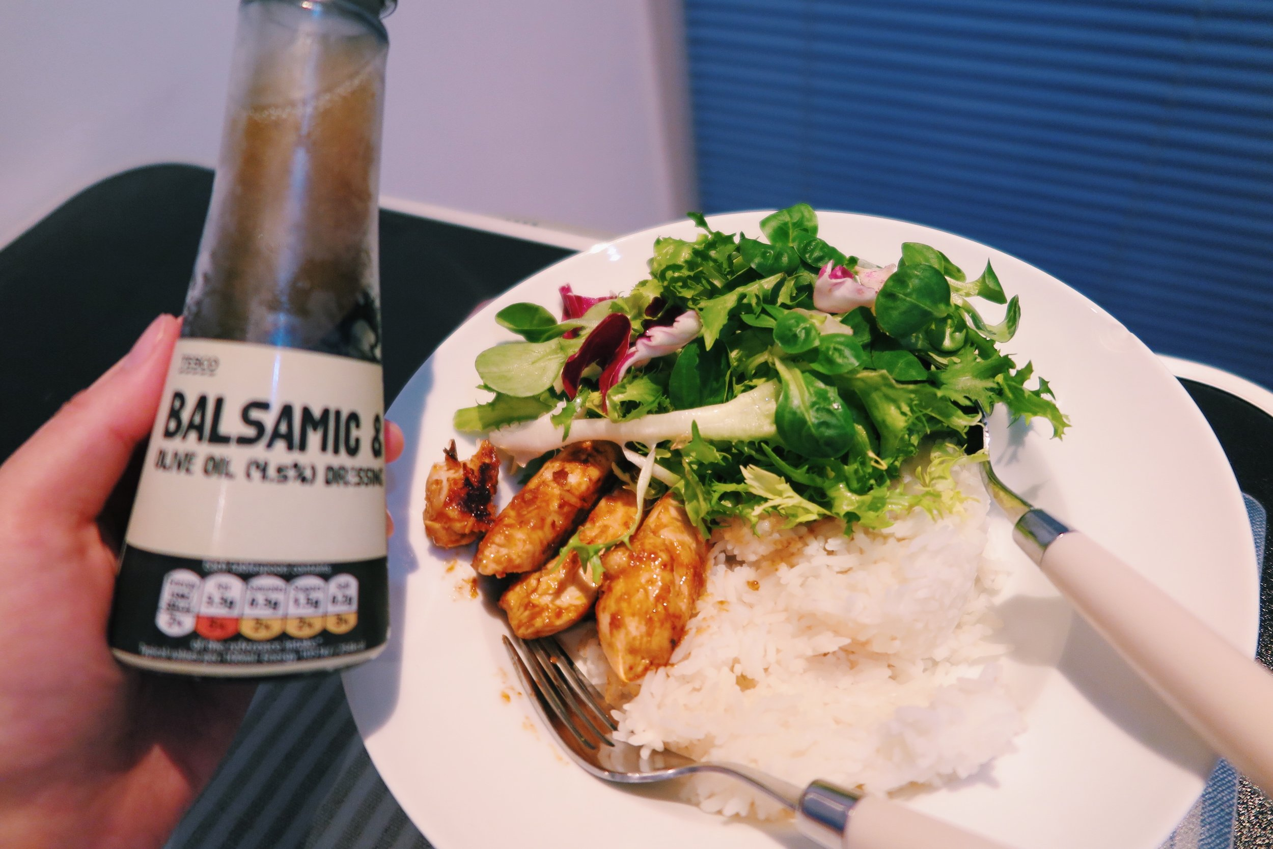 1.  Garlic & chipotle chicken + rice + salad (with balsamic & olive oil dressing)