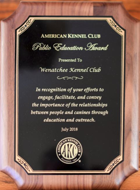Click HERE to learn about WKC Receiving the American Kennel Club Summer 2018 Public Education Award