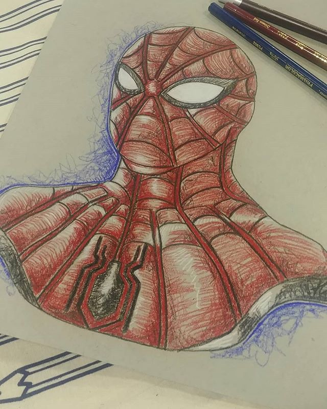 Finished a Spiderman commission today at #mccc19  #spiderman #marvel #coloredpencil #illustration #avengers #drawing
