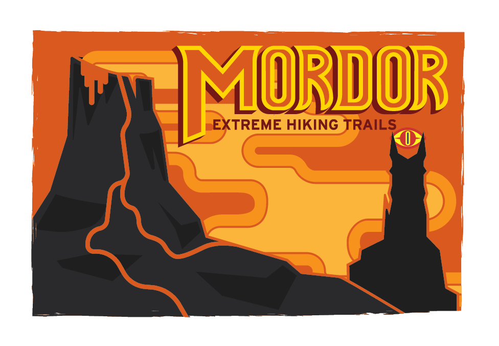 Mordor Extreme Hiking Trails Postcard Design   Tools Used: Adobe Illustrator, Pencil Sketch