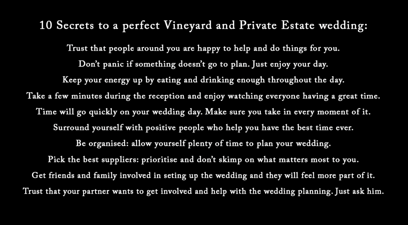 10 Secrets to a perfect Vineyard and Private Estate Wedding