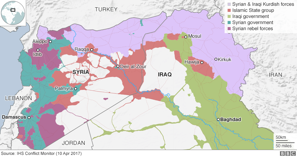 Many news reports claim the rebels are one and the same as, or have merged with,the Islamic State. But most maps show that the opposition fighting to reclaim Syria from Assad are distinct from the Islamic State.